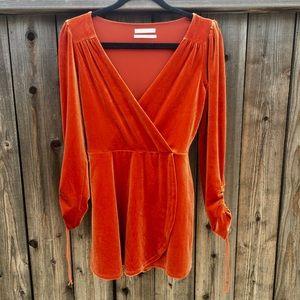 Urban Outfitter Velvet Midi Dress-Romper Med Boho